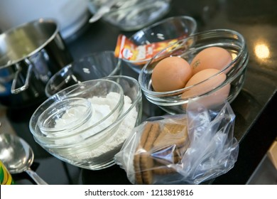 BIELEFELD, NORTH RHIJN WESTFALEN / GERMANY – APRIL 13 2017: Glass bowls with eggs and floor at seminare in kitchen by Dr. Oetker World.