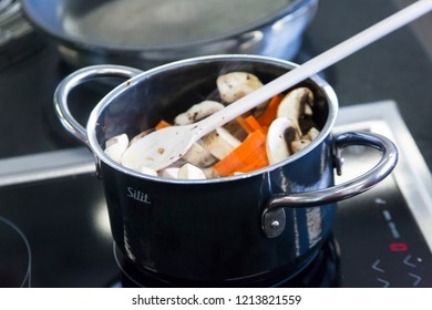 BIELEFELD, NORTH RHIJN WESTFALEN / GERMANY – APRIL 13 2017: cooking pan with vegetables and padle on cooking range in kitchen by Dr. Oetker World.