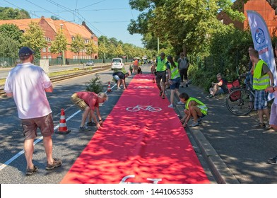Bielefeld, NRW/Germany - 06 29 2019  First protected bike lane in Bielefeld on June 29th 2019. This was an event of the Radentscheid Bielefeld to demonstrate the advantages of a protected cycle way.