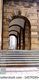 Bielefeld Town-hall,stairs,Sparrenburg old town,NRW,door, A old doorway in Germany
