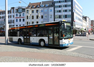 BIELEFELD,GERMANY-APRIL 20:Public Bus waiting for passengers at downtown.April 20,2019 in Bielefeld,Germany.