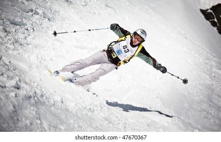 BIELLA - FEBRUARY 21:  Oropa Freeride Ski Race: an unidentified competitor. - International ski&snowboard race on February 21, 2010 in Biella, Italy.