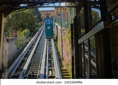 Biella, Italy - June 20 2019: funicular station to the Piazzo