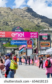 BIELLA, PIEDMONT, ITALY - MAY 20, 2017.Stage of the prizegiving of the 14th stage in Oropa  of the 100th Giro d'Italia annual multiple-stage bicycle race. Tour of Italy.