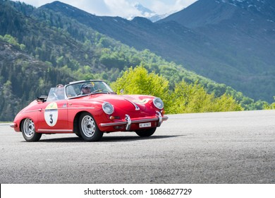 Bielmonte - Biella / ITALY - May 05, 2018: a classic car, Porsche 356 Roadster, built in 1959, during the Trofeo Tollegno, a rally for vintage cars.