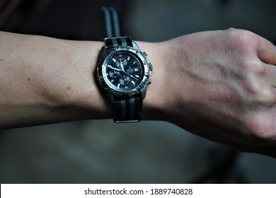 Bielsko, Poland - 01.08.2021:  Swiss brand Festina watch. Festina was bought by the Swiss by the Spaniards in 1984. The company is a sponsor of the Festina cycling group.  Too narrow nato strip