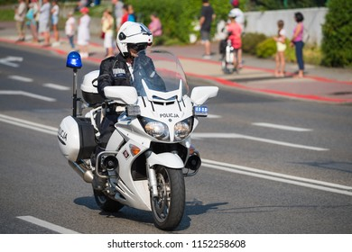 Bielsko-Biala, Poland - August 8 2018: 75th Tour de Pologne cycling 5rd stage race. Tour de Pologne is the biggest cycling event in Eastern Europe. Police motorcycle.