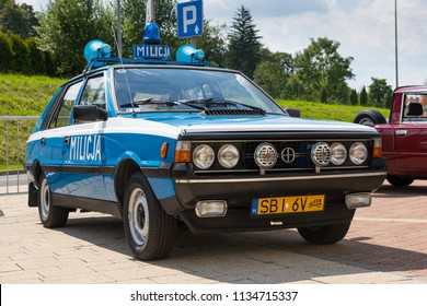 Bielsko-Biala, Poland - July 15, 2018: Restored socialist Militia patrol car on exhibition in Bielsko-Biala.