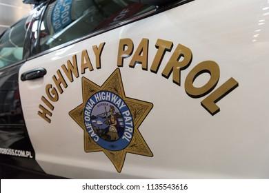 Bielsko-Biala, Poland - July 15, 2018: California Highway Patrol sign on a vintage US police car.