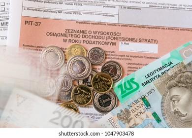 BIELSKO-BIALA, POLAND - MARCH 15, 2018: Polish tax form PIT-37 for individual tax return.