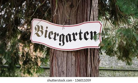 Biergarten sign in Germany