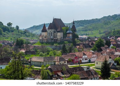 Biertan a famous saxon village in Romania in Transylvania region with a view on a fortified church