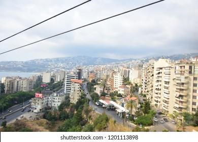 Bierut/Lebanon - 8/8/2028 -Jounieh CityScape - Houses on mountains infront of the sea in  Lebanon