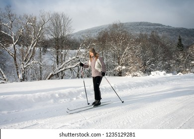 Bieszczady Mountains, Bieszczady National Park, Carpathians Mountains, Poland - December, 2018: cross-country skiing in Bieszczady