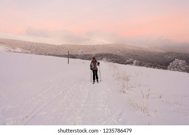 Bieszczady Mountains, Bieszczady National Park, Carpathians Mountains, Poland and Ukraine - December, 2018: cross-country skiing in Bieszczady