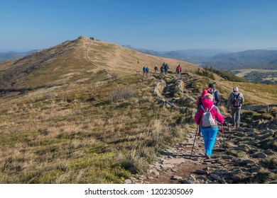 Bieszczady mountains, Poland - october 6 2018, tourists in Polish bieszczady mountain.
