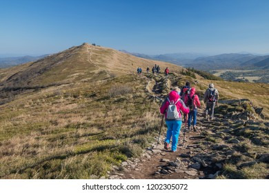 Bieszczady mountains, Poland - october 6 2018, tourists in Polish bieszczady mountain.