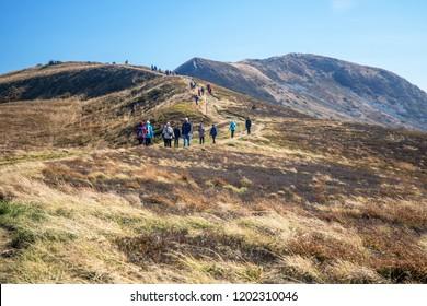 Bieszczady mountains, Poland - October 7 2018, tourists traffic in Polish Carpathian mountains.