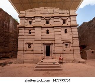 Biete Amanuel is an underground Orthodox monolith rock-cut church located in Lalibela, Ethiopia. UNESCO World Heritage Site at Lalibela