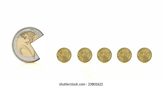 Big 2 euro coin eating little 10 cents coins like in a pack-man video-game