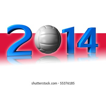 Big 2014 volley logo with poland flag in background
