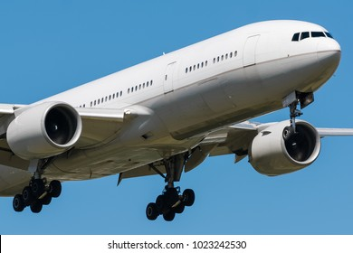 the big aircraft delivers passengers and cargo, lands in the airport, side view