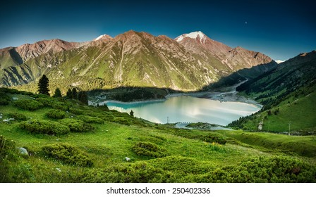 Big Almaty Lake in the mountains of Zaili Alatay, Kazakhstan, Central Asia
