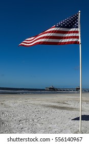 Big America flag on the beach of Fort Meyers Beach-Florida
