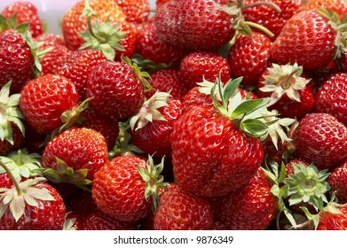 big amount of fresh and juicy strawberry