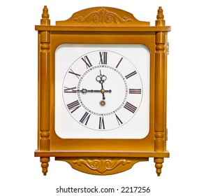 the big analog clock isolated with clipping path