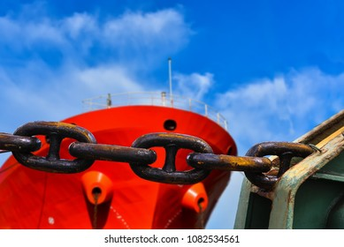 Big Anchor chain black at forward of ship background