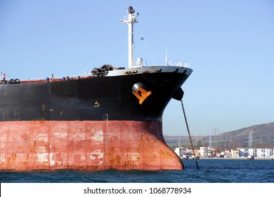 Big anchor prepared in the bow of a petrol tanker stopped in Algeciras bay in Spain.