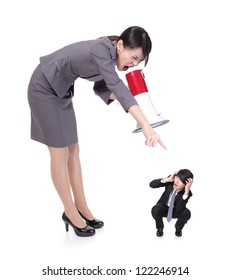 big angry boss (business woman) with megaphone yelling to small Staff (business man) , isolated on white background, asian model