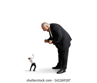 big angry boss screaming at small startled worker. isolated on white background
