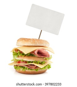 Big appetizing fast food sandwich with blank price tag. Isolated