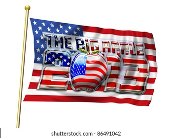 Big Apple 2013 Chrome Lettering Graphic on Stars & Stripes Flag with clipping flag