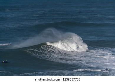 Big atlantic waves at Nazare, Portugal coast.