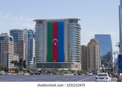 Big Azerbaijan national flag in summer day Bakuç Azerbaijan - 26 June,2018