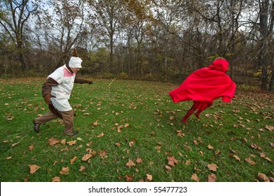 Big Bad Wolf Chasing Little Red Riding Hood