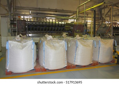 Big bags of raw materials in the chocolate factory