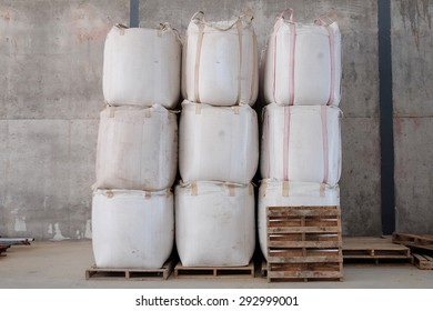 Big bags that contain the rice , rice mill Thailand.