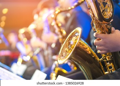 Big Band saxophone section copy space for text
