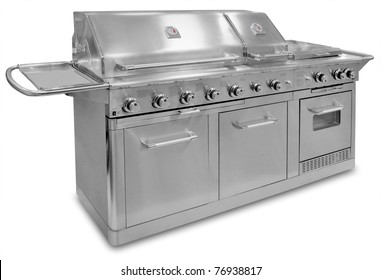 Big Barbecue gas grill in stainless steel, isolated with shadow and clipping path over white.
