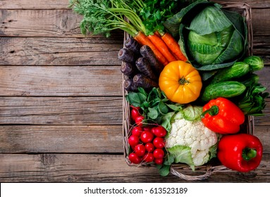 Big Basket with different Fresh Farm Vegetables. Harvest. Food or Healthy diet concept.Vegetarian.Copy space for Text.selective focus.