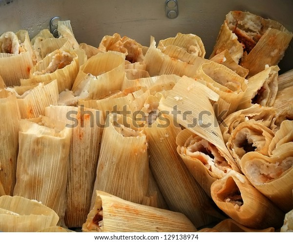 Big batch of tamales in a pot