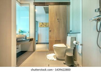 Big bathroom in gray white tone in luxury five star hotel. bathroom in hotel have freestanding tub, walk in shower, double sink or bowl, big mirror, ceramic bathtub and windows skylights
