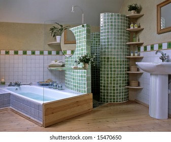 big bathroom with green mosaic
