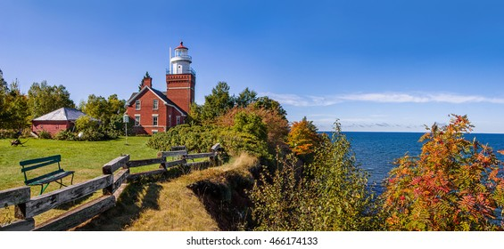 The Big Bay Point Lighthouse on a perfect autumn day at Lake Superior, Michigan, Upper Peninsula, USA