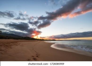 Big beach or Makena Beach near Kihei is a great place for a morning beach walk.