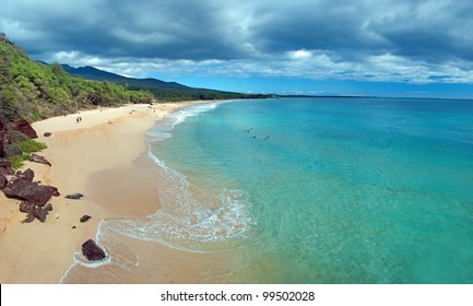 Big beach on maui hawaii island with azure ocean